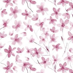 Burgundy dainty cherry blossom ★ watercolor tonal florals for modern home decor, bedding, nursery