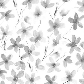 Noir dainty cherry blossom ★ watercolor flowers in grey shades for modern scandi home decor, bedding, nursery