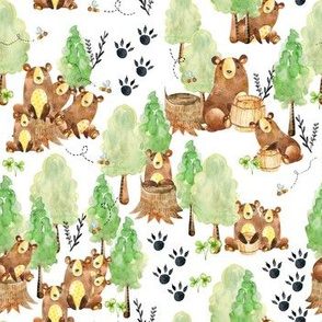 Small Watercolor Woodland Bear Honey Bee Forest White
