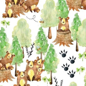 Large Watercolor Woodland Bear Honey Bee Forest