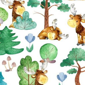 Large Moose On The Loose Watercolor Forest White
