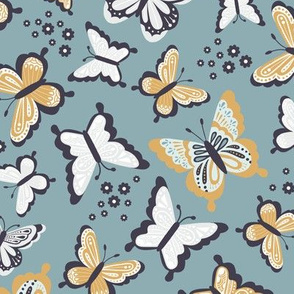 Happy Spring Butterflies V2 - Metal Teal