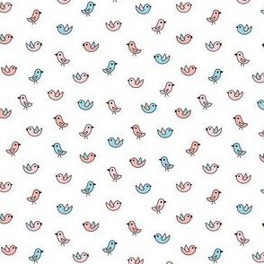 Little birdies - pink and white