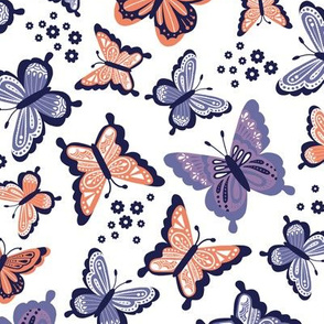 Happy Spring Butterflies V2 - Purple Coral