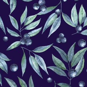leaves and berries on a deep blue