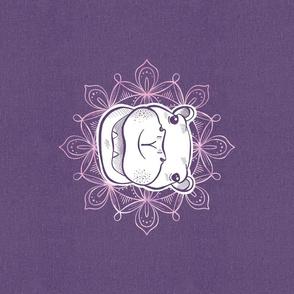 Line Art Safari - Hippo lavender mandala