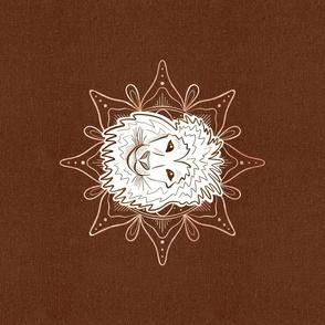 Line Art Safari - Lion copper mandala