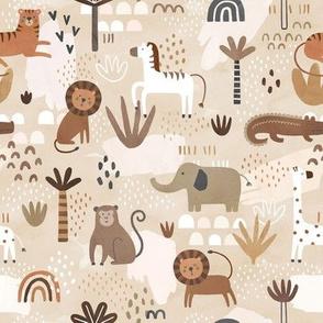 Jungle Animals Natural Colors