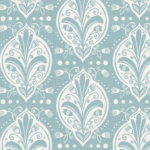 Aria - Floral Ogee Textured Sky Blue Regular Scale