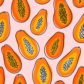 Large scale abstract papayas summer vibes pattern