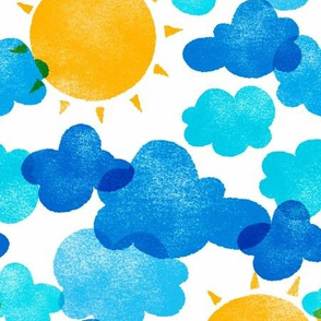 Riso Sun and Clouds (blue and yellow)