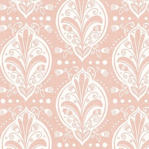Aria - Floral Ogee Textured Blush Pink Regular Scale