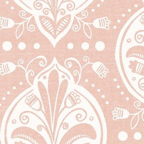Aria - Floral Ogee Textured Blush Pink Large Scale