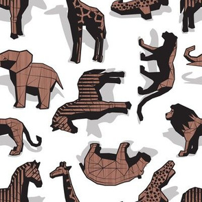 Small scale // Safari wood animals // non directional design white background brown geometric toys