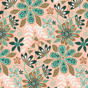 Bohemian Floral 1970s Orange Green Brown White-SMALL Scale