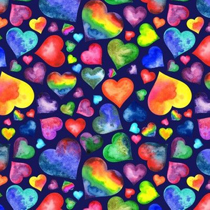 Rainbow Hearts on Navy Blue