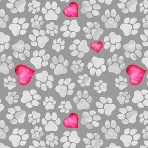 Grey Paws with Pink Hearts
