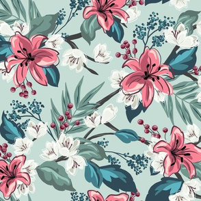 Orchid Chintz - Light Teal