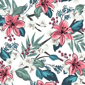 Orchid Chintz - White