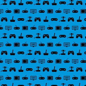 Video Games Pattern on Blue