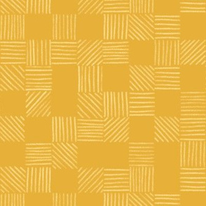 Mustard and Saffron Gold Grid Lines by Angel Gerardo