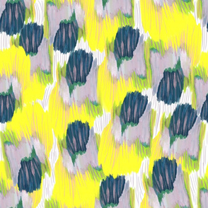 yellow violet and navy abstract floral