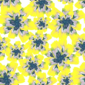 yellow, lilac and navy painted flowers