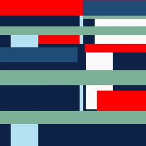 stripe in red and blue
