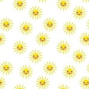 (small scale) Sunshine - cute suns - yellow and white - C20BS