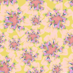 peach pink and coral bright flowers yellow background