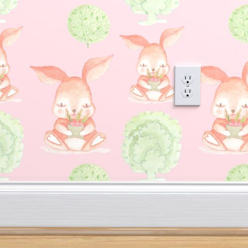 Cute Bunny Rabbits With Carrots Pastel B Spoonflower