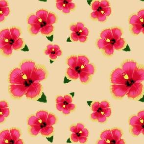 Hawaiian Hibiscus on Tan