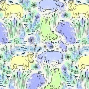 hippo safari blue, green and yellow - small scale