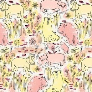 Hippo safari yellow and peach pink - small scale