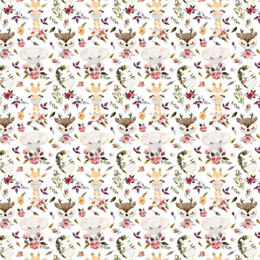 """4""""  Cute Wild Animals With Flowers And Masks"""