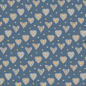 Blue pattern with hearts