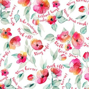 Back Off, Stay Safe, watercolor floral for face masks on white large print