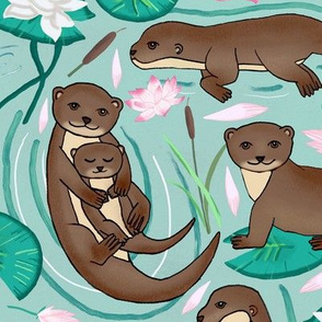 How We Love Each Otter - Mint Background - Large Scale