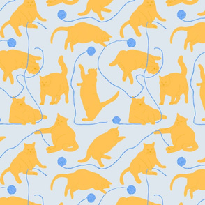 Fat Orange Cats and Yarn Blue Background