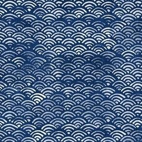 Japanese Block Print Pattern of Ocean Waves (large scale), Japanese Waves Pattern in Indigo Blue, Blue Boho Print, Beach Fabric
