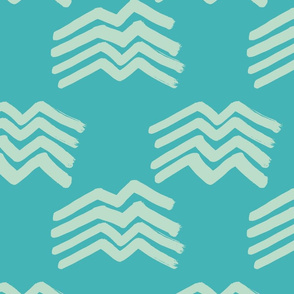 Boho Mountains mint on turquoise Medium
