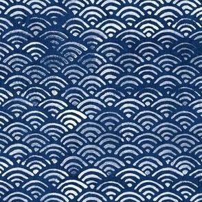 Japanese Block Print Pattern of Ocean Waves (xl scale), Japanese Waves Pattern in Indigo Blue, Blue Boho Print, Beach Fabric