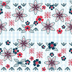 Patriotic Gingham with Flower Embroidery, Red, White, Blue