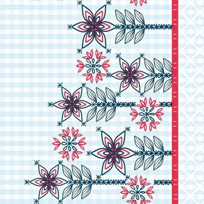 Patriotic Gingham Border of Floral Embroidery
