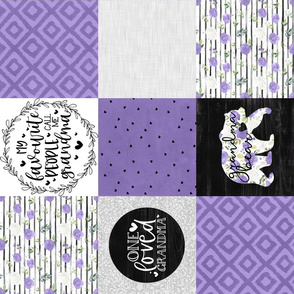 Grandma Bear//Grape - Wholecloth Cheater Quilt - Rotated