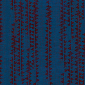 TRIANGLES SIDEWAYS RED ON BLUE