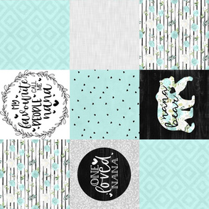 Nana Bear//Mint - Wholecloth Cheater Quilt - Rotated