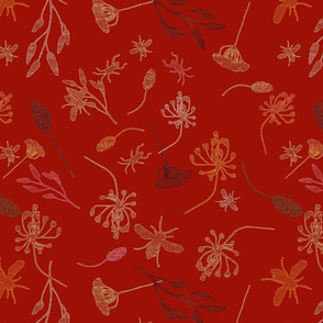 Beetles, bees and grass, grenadine