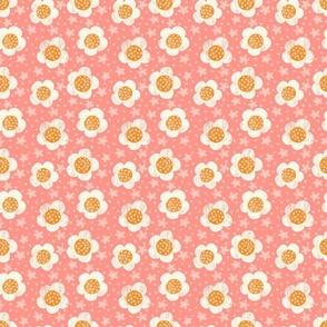 Pink & Orange Retro Textured Flowers