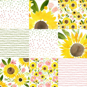 Sunflower Fields Cheater Quilt